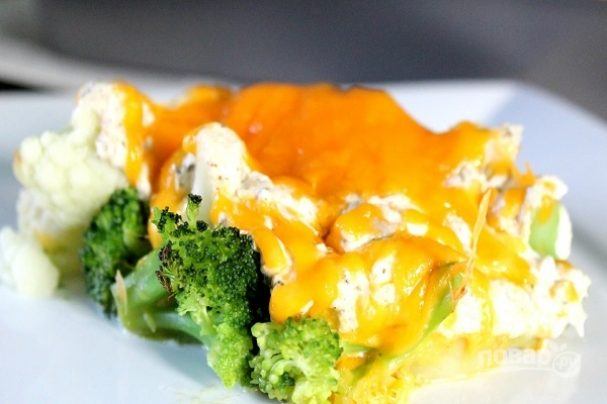 Рыба с брокколи и сыром