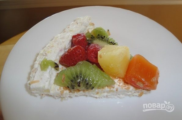 Творожный десерт с тропическими фруктами
