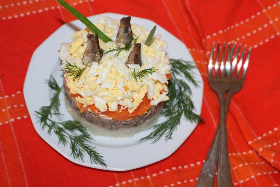Салат из риса и шпрот - фото шаг 9