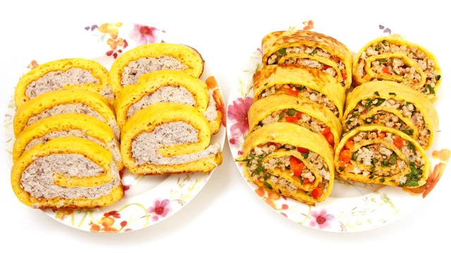 Фото к рецепту: Куриный рулет в сырном омлете