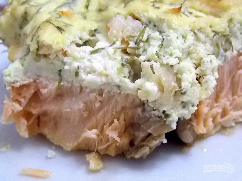 Лосось под сыром с креветками - фото шаг 8