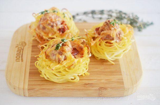 Кексики из спагетти с фрикадельками