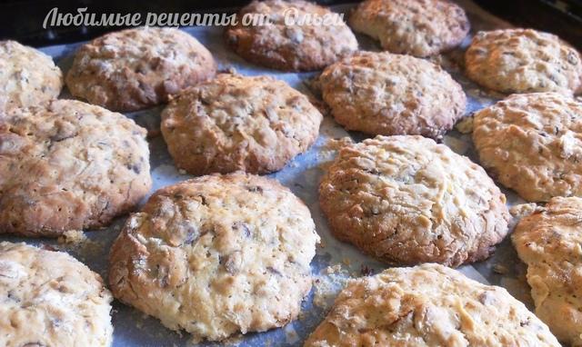 Фото к рецепту: Овсяное печенье домашнее. простой рецепт с шоколадом и изюмом (с орехами, цукатами, сухофруктами)