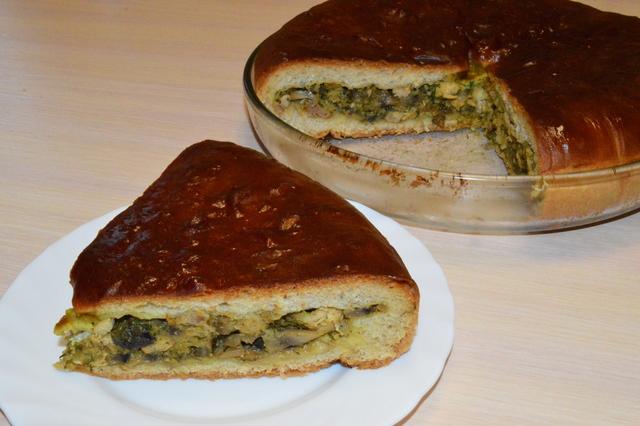 Фото к рецепту: Пирог с курицей и грибами