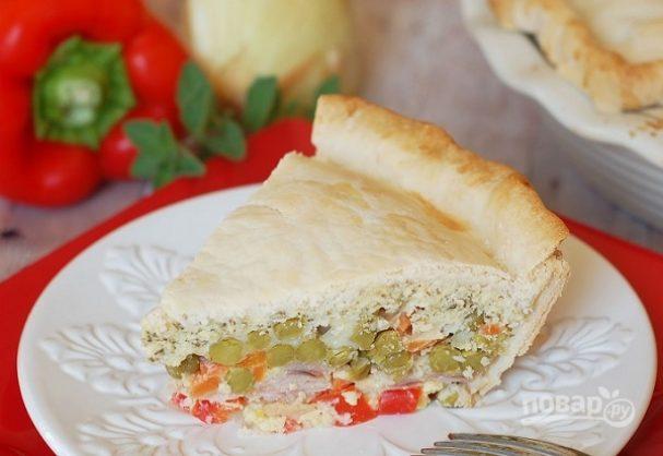 Пирог с овощами и ветчиной