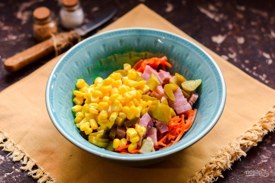 Салат с ветчиной, морковью и кукурузой - фото шаг 5