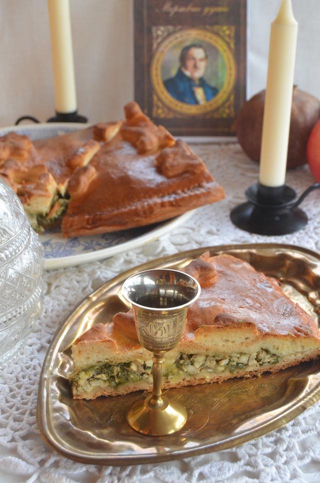 Фото к рецепту: Пресный пирог с яйцом и луком для павла ивановича чичикова.