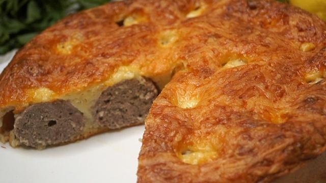 Фото к рецепту: Пирог с фрикадельками