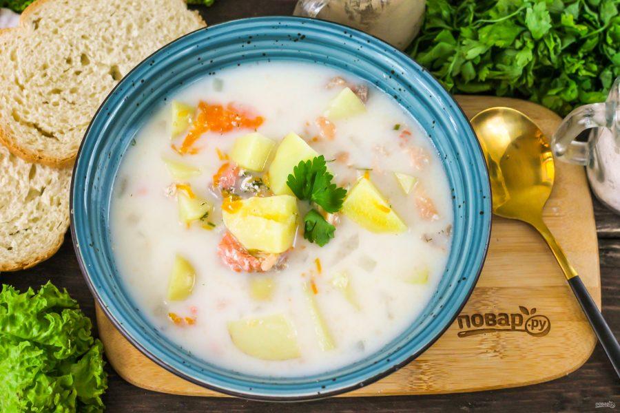 Сливочный суп с горбушей - фото шаг 6