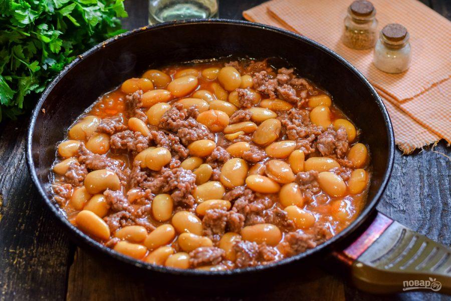 Фарш с фасолью в томатном соусе - фото шаг 5