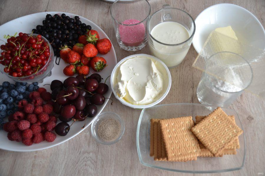 Торт с ягодами без выпечки - фото шаг 1