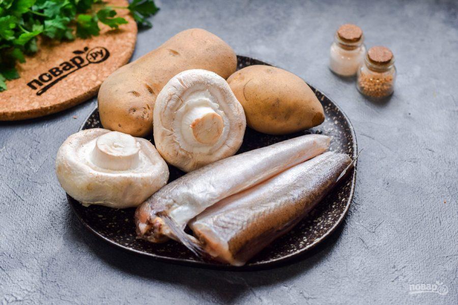 Рыба запеченная с грибами и картофелем - фото шаг 1