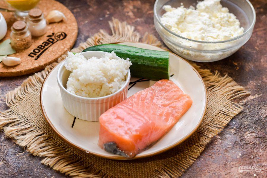 Слоеный салат с семгой и рисом - фото шаг 1